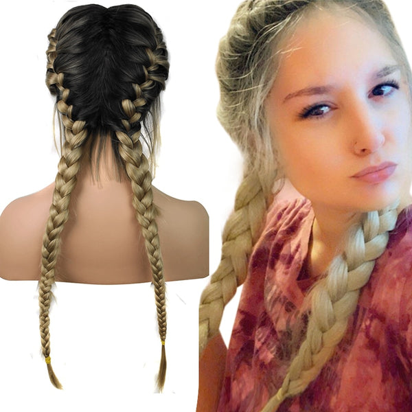 Double Braids Blonde Synthetic Braided Baby Hair