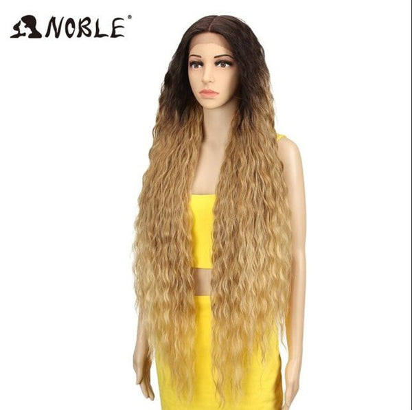 Noble Hair Synthetic Wigs For Women Long Curly Hair 42 Inch Cosplay Blonde Ombre Lace