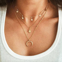 Vintage Multi Layered Pendant Necklace Women Fashion Gold Color Crescent Moon Star Choker  Jewelry