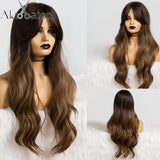 Wavy Wigs Cosplay Synthetic Wigs with Bangs For Women Long Hair