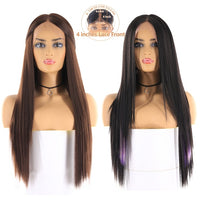 Medium Brown Color Synthetic Hair Wigs Long Straight Lace Front Wig With Natural Hairline Middle Part