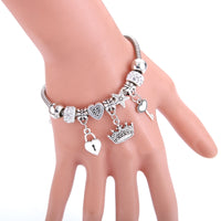 Antique Original Crown key lock Shape 6 colors Charm Bracelets For Women