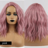 Beautiful synthetic wigs with bangs cosplay natural shag wave hair Pink Wigs, Wigs, Wigs with bangs