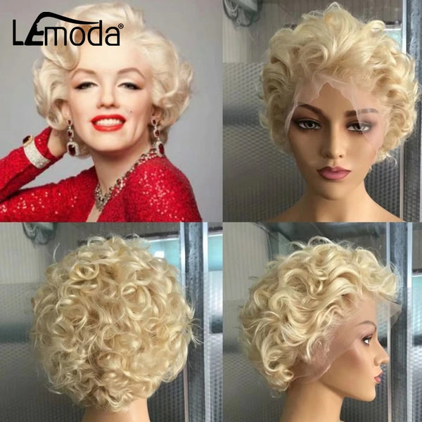 Blonde Pixie Cut Wig 13x6 Lace Front Human Hair Wigs