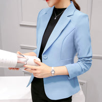 Slim Fit Women Formal Jackets Office Work Suit Open Front Notched Ladies Solid Black Coat Fashion Coats Tops