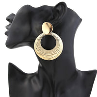Simple fashion gold Silver plated geometric big round Clip earrings for women