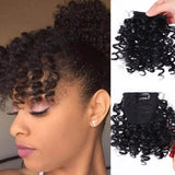 Fake Afro Curly Fringe Clips In Bangs Fiber Hairpieces Natural Black Synthetic Hair Extensions