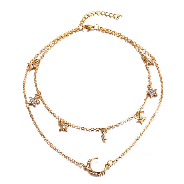 Women's Vintage Multi-layer Star Moon Crystal CHOKER Necklace