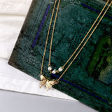 Bohemian Gold Color Butterfly Pearl Chain Necklace for Women Butterfly Short Pendant Choker