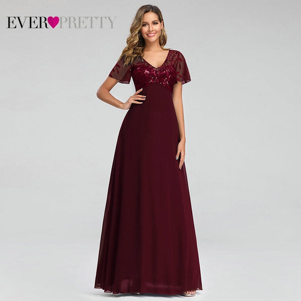 Evening Dresses Elegant A-line Short Sleeve Chiffon Lace Embroidery Party Gown