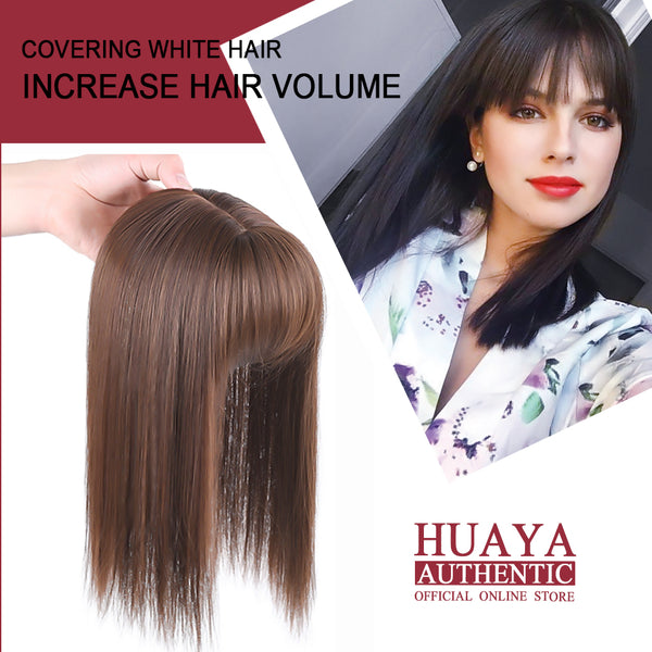 Half Head Wig Women's Head Top Invisible Hair Block With Air Bangs Synthetic
