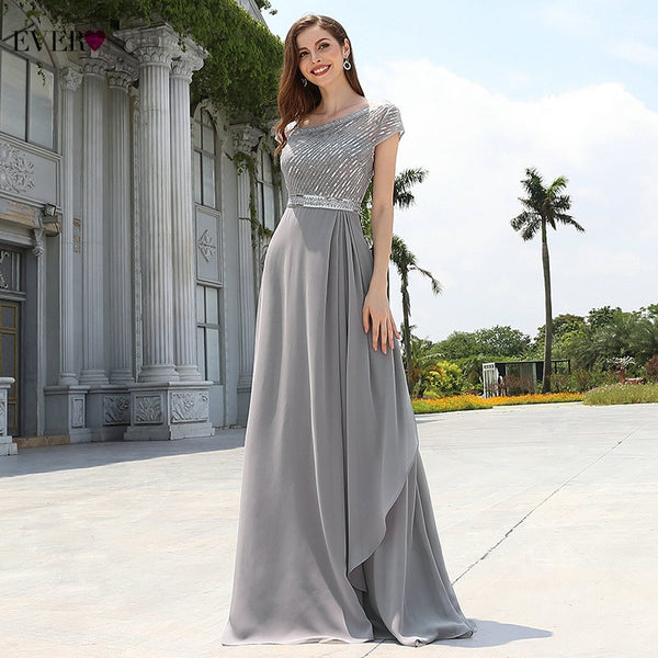 Elegant Evening Dress Chiffon Sequined Ruffles Long Dresses 2020