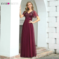 Burgundy Formal Dresses Ever Pretty Long Evening Dress