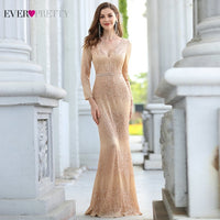 Elegant Mermaid V Neck Long Sleeve Rose Gold Evening Dresses by Ever Pretty