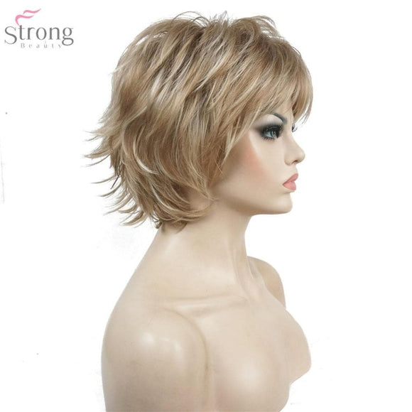 Womens wigs short strait layed hair full wig synthetic high quality - briskeys-deals