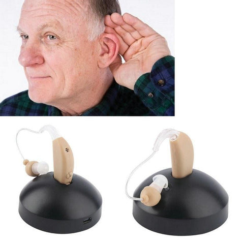 BTE rechargeable digital hearing aid for hearing impaired and elderly - briskeys-deals