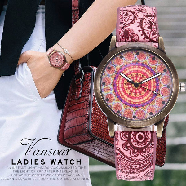 Women's Creative Flower Watches Casual Leather Quartz Watches for women, Womens Watches