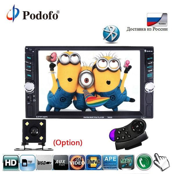 "Podofo 2 Din 6.6"" Touch Screen Bluetooth Car Stereo FM/Audio Car Stereo, Touch Screen"