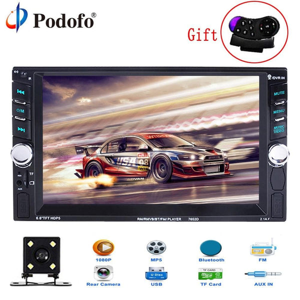"Car Stereo 2 Din 6.6"" LCD Touch screen Bluetooth FM rear view camera - Briskeys Deals"