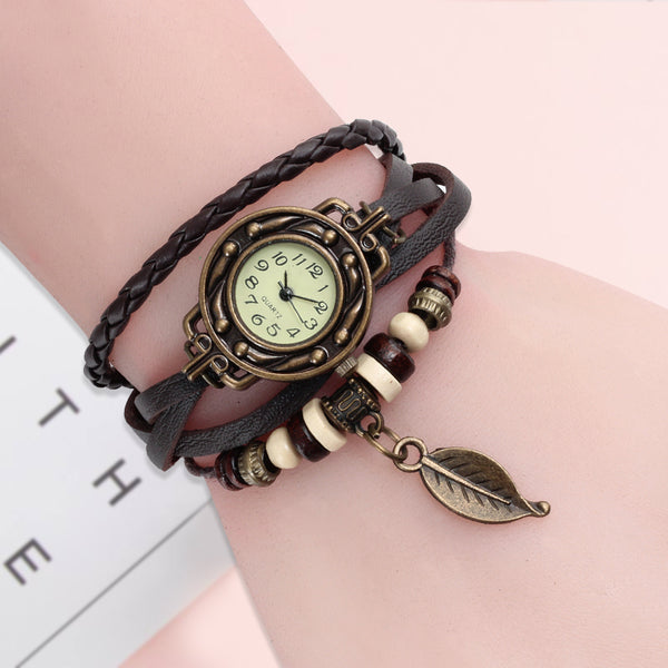 Women's watches high quality vintage quarts with genuine leather - Briskeys Deals