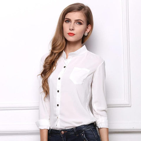 Loose stand collar long sleeve chiffon shirt white shirt - briskeys-deals