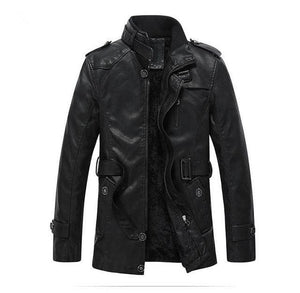 Leather Jacket Men With Washed Motorcycle Standing Collar - briskeys-deals