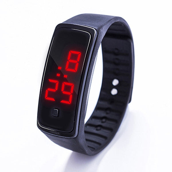 Fashion Digital LED Sports Jelly Silicone Band Men Women Wrist Watch