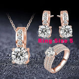 Brides Wedding Jewelry Cubic Zircon Necklace Earring Ring - briskeys-deals