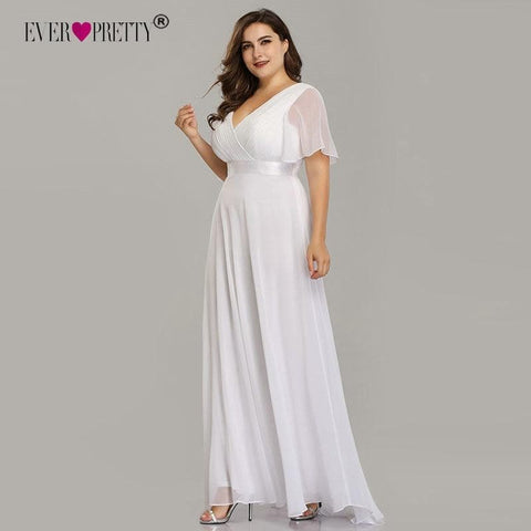 Plus Size Wedding Dress Chiffon White De Mariee Vestido De Noiva - briskeys-deals