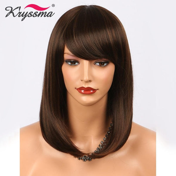 Short Brown Wig Straight Synthetic Hair Wigs Heat Resistant Fiber Wigs