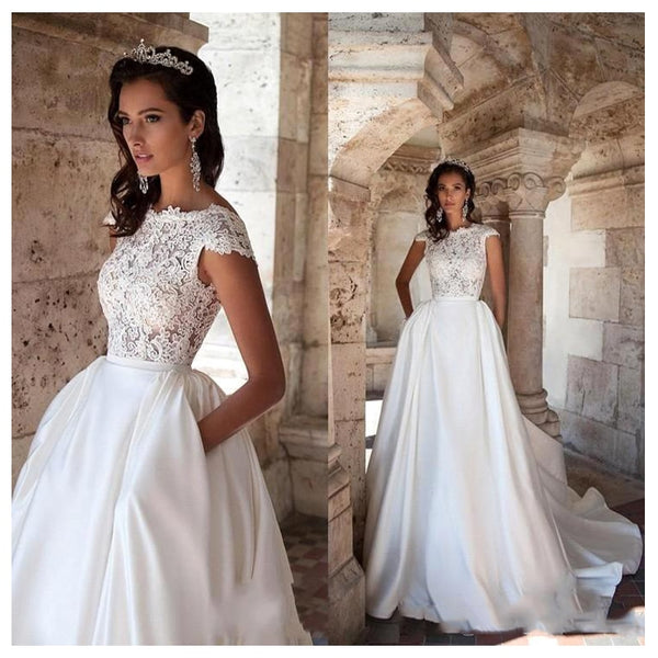Wedding Dress Short Sleeves Bride Gown Dresses With Pockets Wedding Dresses