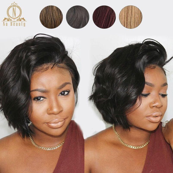 Beautiful lace front human hair pixie cut Brazilian - briskeys-deals