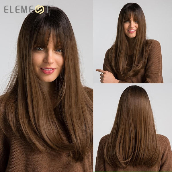 Long synthetic wig with bangs and dark roots. Wigs with bangs Hair Bangs, Synthetic Wig, Wigs, Wigs with bangs