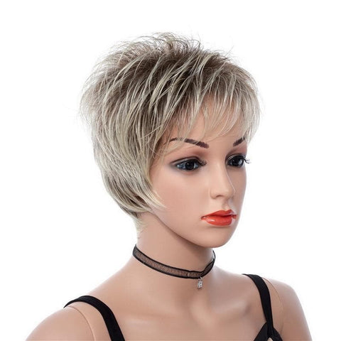 8inch Mix Brown Light Golden Short Synthetic Hair Wig With Bangs