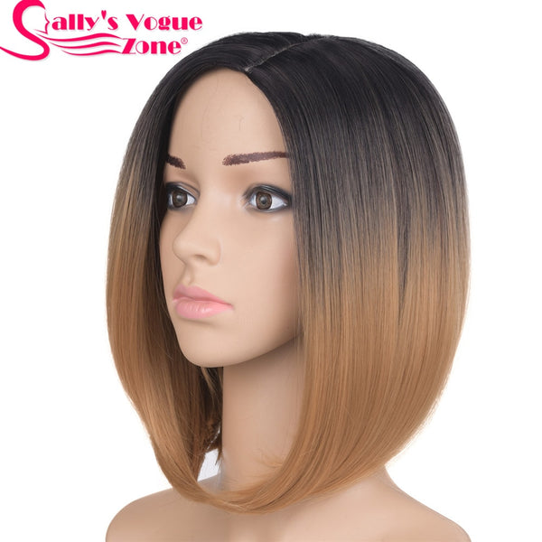 Middle Part 12 inch Japanese High Temperature Fiber Synthetic Short Bob Wig For Women