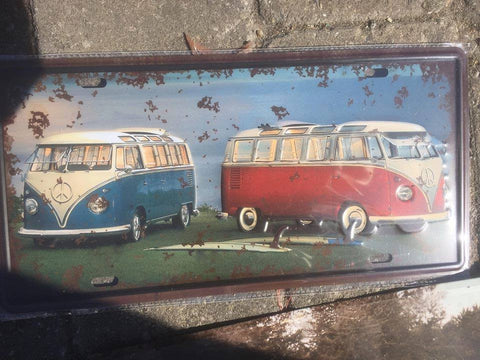 CAMPER VAN RED AND BLUE  , METAL SIGN 30 X 18 CM