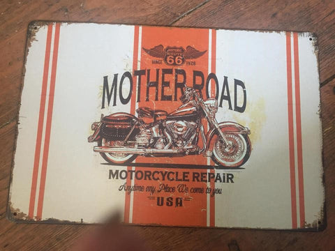 Metal sign 30 x20 cm Mother Road Great bike metal sign retro