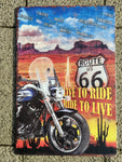Route 66 metal sign biker 20 x 30cm