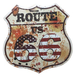 Retro Route 66 Decorative Metal Plaques Vintage Metal Tin ((Signs shield signs))
