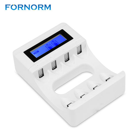 FORNORM LCD Display With 4 Slots Smart Intelligent Battery Charger For AA / AAA NiCd NiMh Rechargeable Batteries