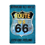 American Route 66 GAS Station Plate Metal Tin Signs Vintage Bar Home Coffee Wall Art Decor Retro Poster Plaque 20x30cm