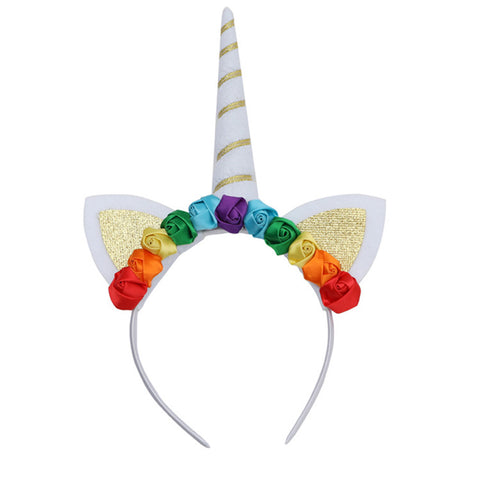 Unicorn Floral Hair Band Hair Hoop of Gold Glitter Princess Birthday Party Unicorn Headband Supply Favor Decoration