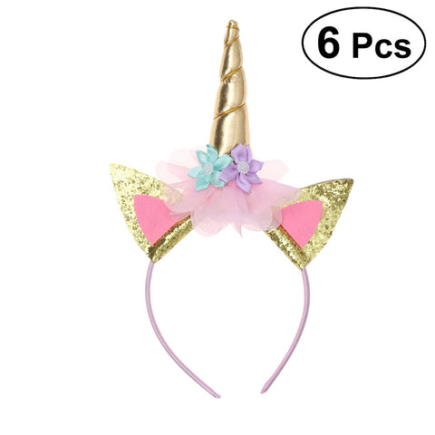 6 Pcs Unicorn Headband Gold Horn Headbands Perfect Unicorn Party Supplies Party Favor for Birthday or Costume Party