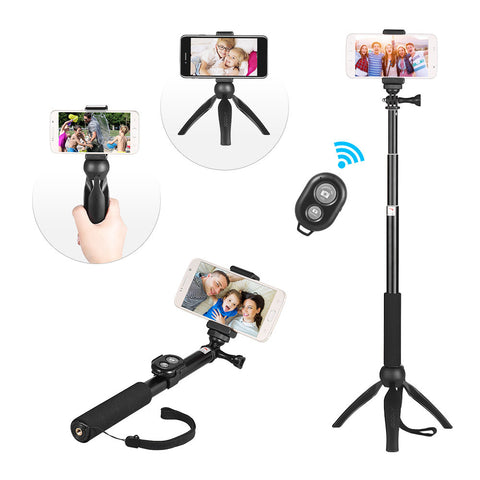 Andoer Phone Live Show Kit Including Mini Tabletop Tripod Selfie Stick Phone Holder Remote Controller for Smartphone for Canon Nikon Sony DSLR ILDC Cameras for GoPro Hero 5/4/3/3+ Selfie Live Streaming Video Recording Still Photography