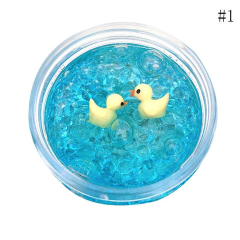 Kids Anti stress Toys Small Yellow Duck Butter Slime Clear Slime Glitter Slime Floam Beads Slime