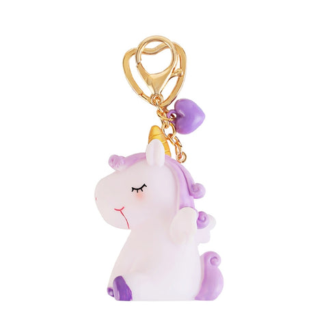 Cute Unicorn Pendant Squeeze Sound Unicorn Stress Relieving Dolls Keychain Pendant Toy (Purple)