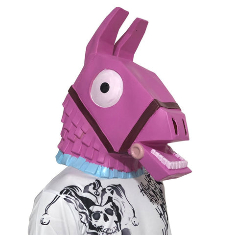 Game Fort Troll Stash Llama Mask Cosplay Fortnited Llama Mask Battle Royal Latex Pink Horse Helmet Halloween Party Prop Dropship