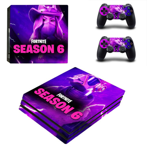 PS4 Pro Fortnit Season 6 Skin Sticker Cover For Sony Playstation 4 Pro Console and Two Controllers