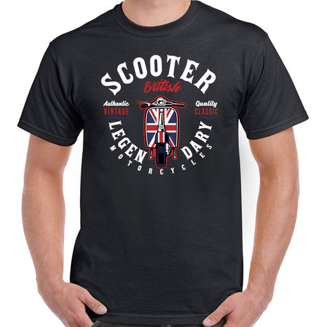 Legendary Scooter Mens Biker T-Shirt Lambretta Vespa Mod Paul Weller Bike Mens Tops Cool O Neck T-Shirt top tee