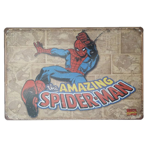Spider Man Picture Metal Cartoon Tin Sign 20x30CM Plaque Metal Painting Wall Sticker Iron Sign Board Home Bar Pub Plates Decor